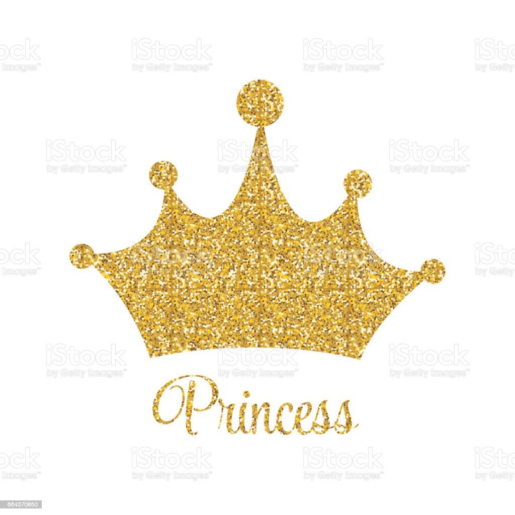 Prenses Altın Parlak Arka Plan Taç Vektör çizim Ile Stok Vektör