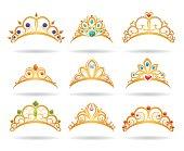 Princess golden tiaras with diamonds