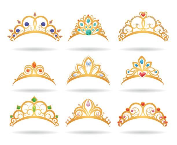 Princess golden tiaras with diamonds Princess golden tiaras with diamonds isolated on white background. Gold girls crowns vector illustration diademe stock illustrations