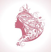 Princess Hairstyle. Girl with rose colored leafy hair vector silhouette illustration