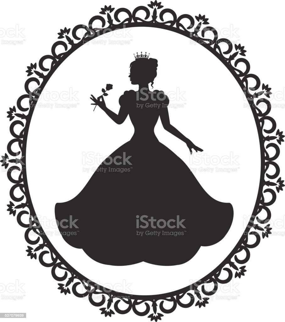 princess in a magnificent dress in a retro frame vector art illustration