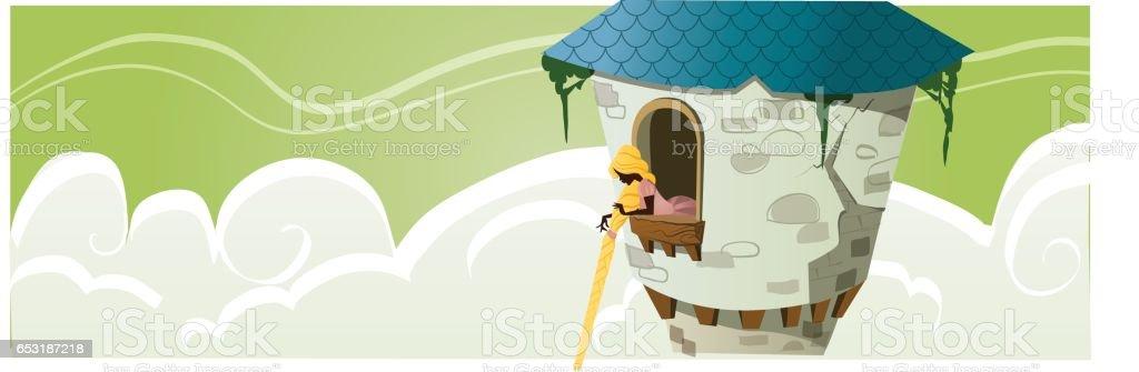 Princess in a tower - Fairy Tale illustration - illustrazione arte vettoriale