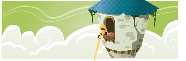 Princess in a tower - Fairy Tale illustration - illustrazione arte vettoriale
