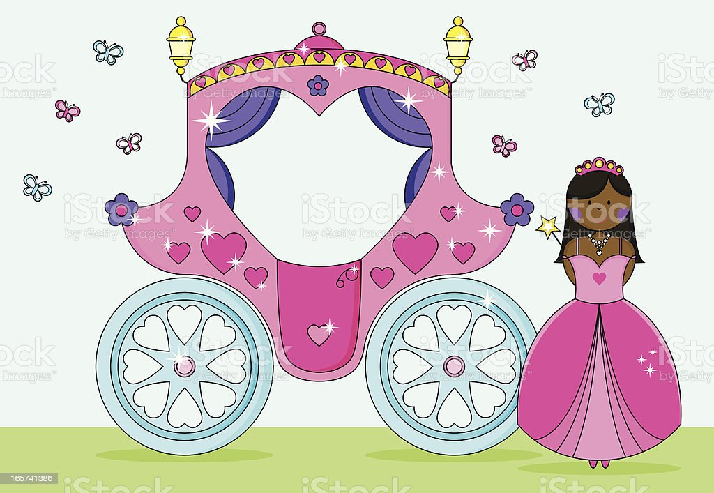 Princess in Ballgown Invite with Fairytale Heart Carriage and Butterflies. vector art illustration
