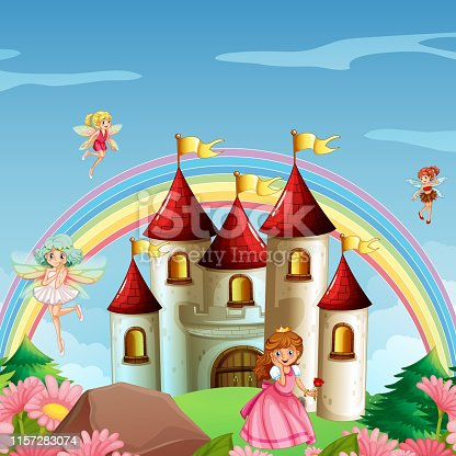 Princess in fantasy land illustration