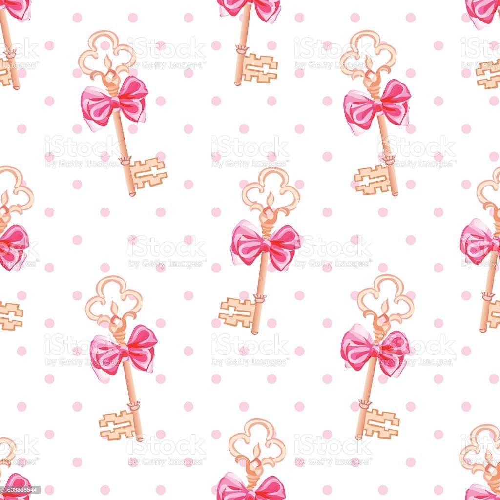 Princess keys on polka dotted background seamless print vector art illustration