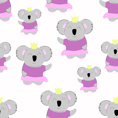 Princess koala in a skirt. seamless pattern. Decorative wallpaper for the nursery in the Scandinavian style. Vector. Suitable for children's clothing, interior design, packaging, printing.