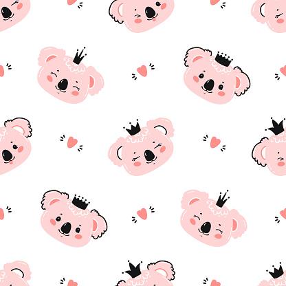 Princess Koalas. Cute Little Baby Koala Bear Face with Crown and Hearts Seamless Pattern. Kawaii Animal Heads Childish Vector Background for Kids Fashion Design. Print for Nursery Wallpaper