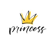 Princess lettering with crown.