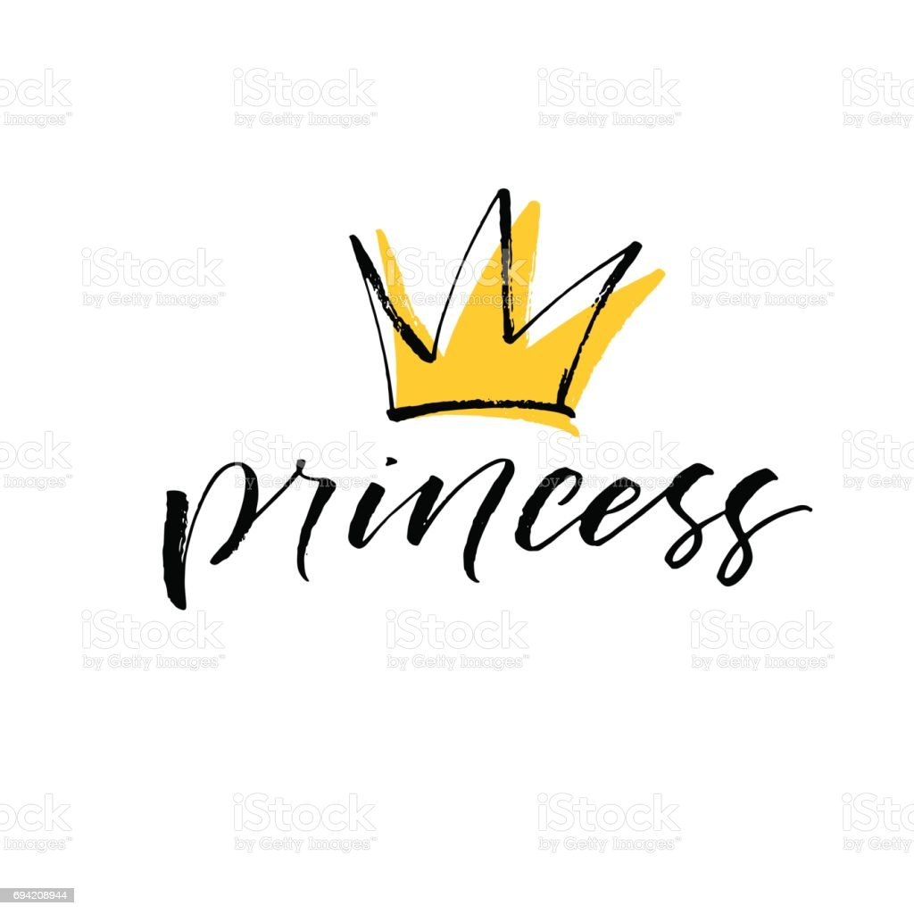 Princess lettering with crown. vector art illustration