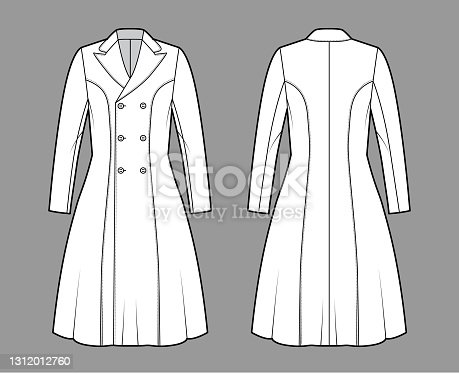 istock Princess line coat technical fashion illustration with double breasted, fitted body, peak lapel collar, knee length 1312012760