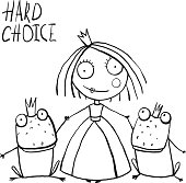 Princess Making Choice between Two Prince Frogs Coloring Page