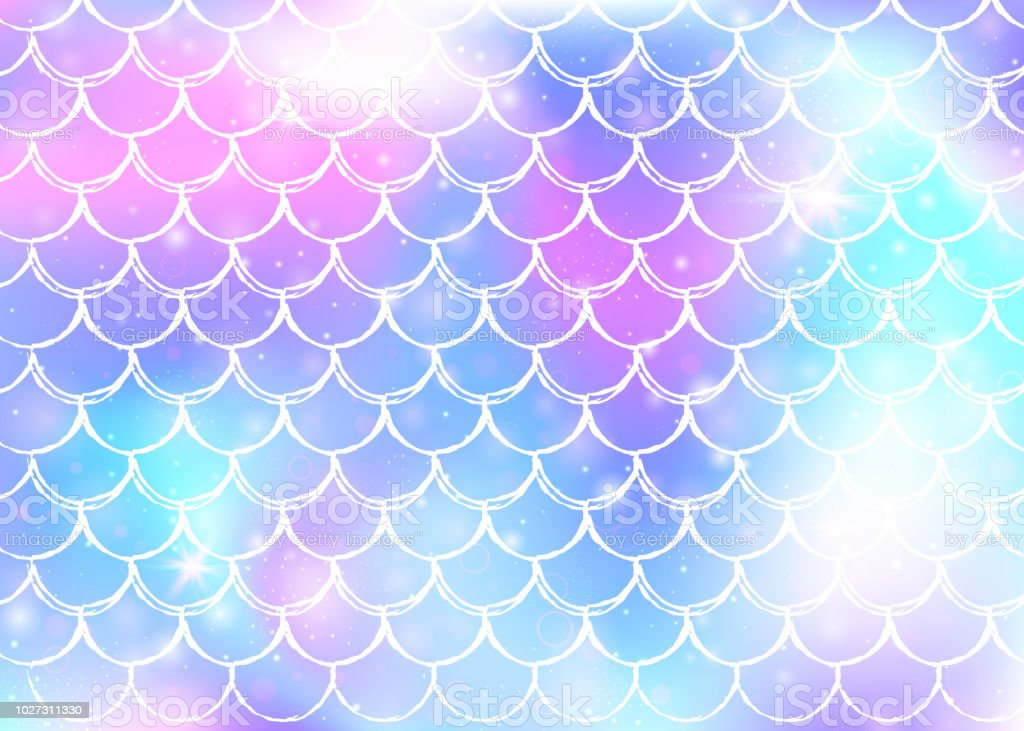 Princess mermaid background with kawaii rainbow scales pattern. vector art illustration