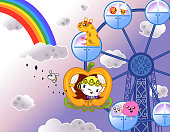 A princess on ferris wheel with animals and rainbow