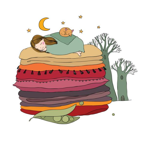 princess on the pea. blankets and pillows. - bedtime story stock illustrations