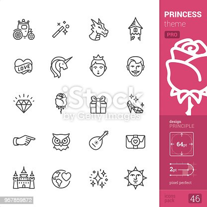 Princess and Fairy Tale theme - Single line Pro Pack   Сontains the following icons: • Carriage, Magic Wand, Dragon, Tower; • Heart and Love, Unicorn, Princess, Prince Groom; • Diamond, Rose, Gift box, Glass slipper; • Victorian Pointer Hand, Wise Owl, Mandolin and Serenade, Love letter; • Castle, World Peace and Love, Stardust, Victorian Sun Face.  DESIGN PRINCIPLE — pixel grid alignment, all the icons are designed in 64x64 pt square, stroke weight 2 pt.  >> Take a look at the complete PRO packs collection https://www.istockphoto.com/collaboration/boards/bWuaNNNEwE-iQ8JnJpMYMg