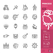 Princess - outline icons - PRO set
