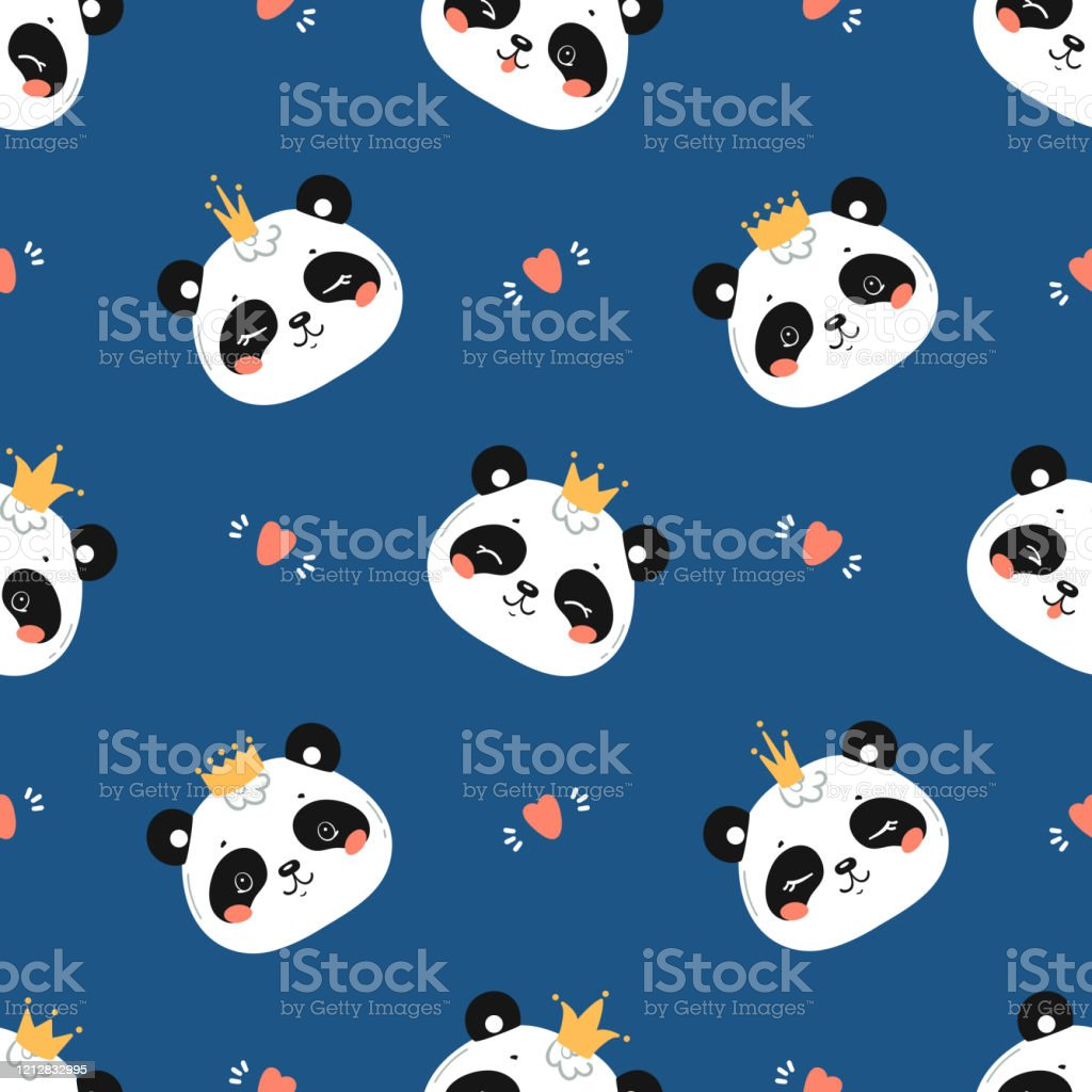 Princess Pandas Cute Little Baby Panda Bear Face With Crown And Hearts Seamless Pattern Black And White Chinese Or Bamboo Bear Face Kawaii Animal Heads Childish Vector Background For Kids Fashion Stock