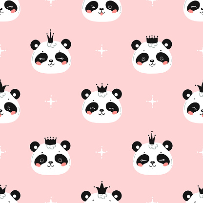 Princess Pandas. Cute Little Baby Panda Bear Face with Crown Seamless Pattern. Black and White Chinese or Bamboo Bear Face. Kawaii Animal Heads Childish Vector Background for Kids Fashion Design
