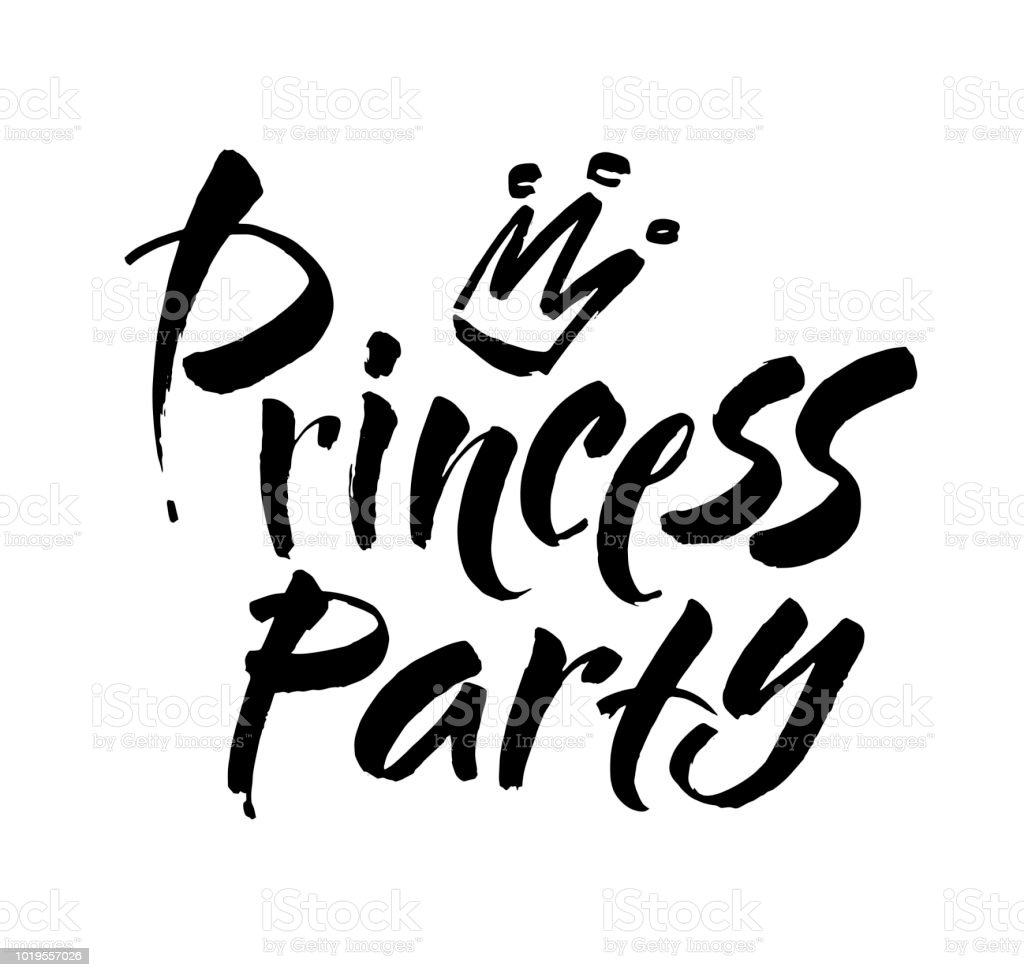 princess party bridal shower card design birthday girl lettering quote typography vector design for