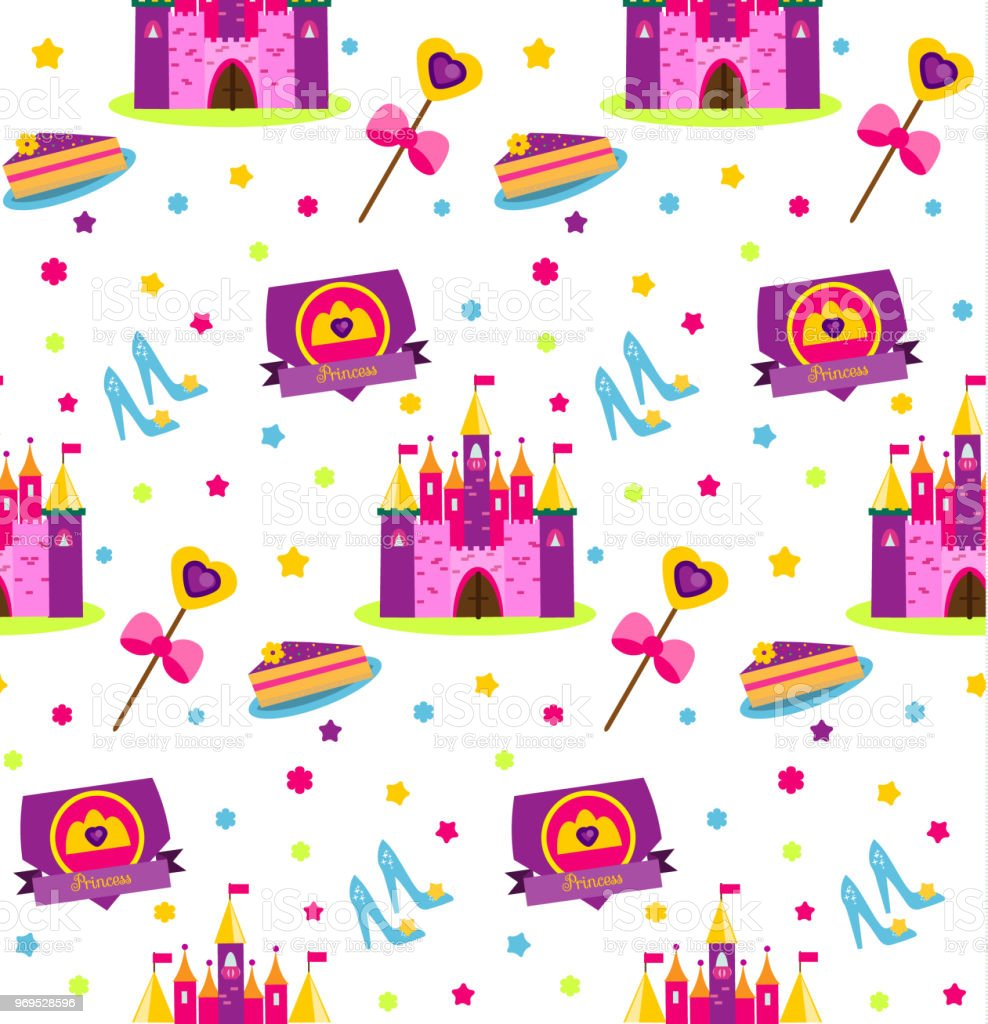 princess party pattern vector background with girls design elements castle shoes wand