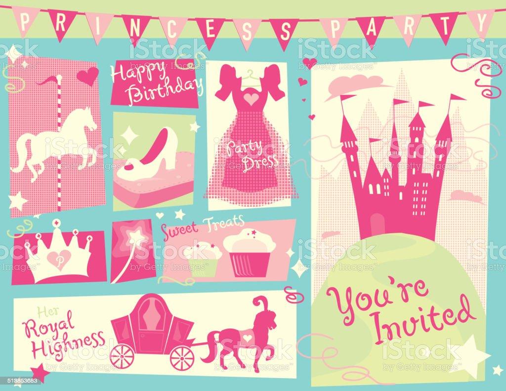 Princess party themed design set green and blue horizontal vector art illustration