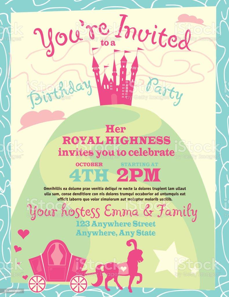 Princess Party Themed Invitation Design Template Stock Vector Art