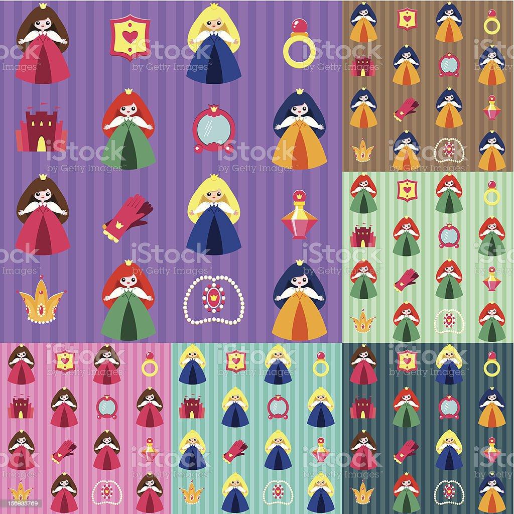 Princess pattern set. royalty-free stock vector art