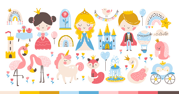 Princess rainbow set with animals and birds, unicorn, flamingo, swan. Castle, carriage. Cute girl and boy characters. Vector illustration in a cartoon hand-drawn Scandinavian style in a pastel palette