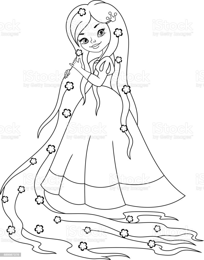 Princess Rapunzel Coloring Page Stock Vector Art More Images Of