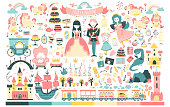 Princess Set. Fairy kingdom, prince, fairy, unicorn, dragon, castles, carriage, and much more. Vector illustration in cartoon Scandinavian style. Perfect for invitations, cards textile prints