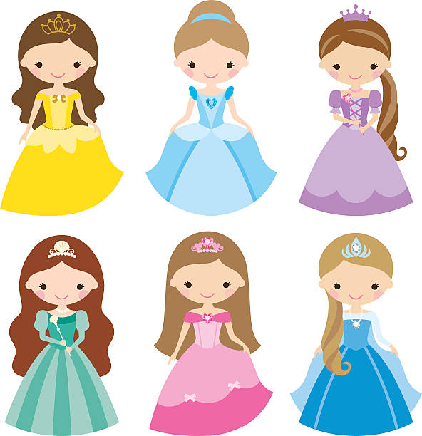 illustrazioni stock, clip art, cartoni animati e icone di tendenza di principessa set - principessa