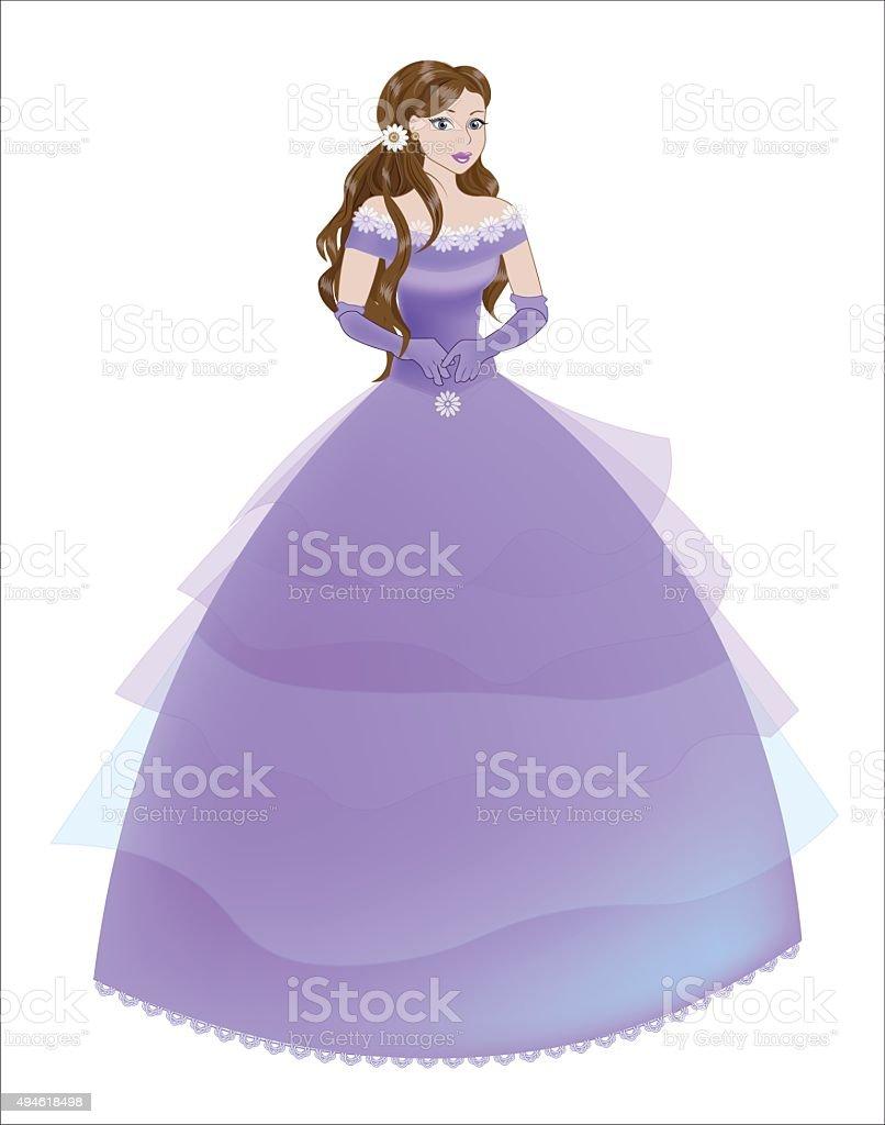 Ilustración de Princesa The Brunette En Un Vestido Morado y más ...
