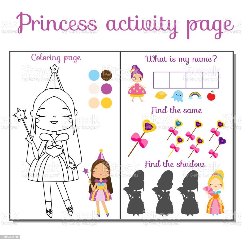 Ilustración de Página De La Actividad Del Tema De Princesa Para ...