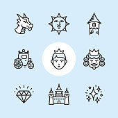 """Princess / 9 Outline style Pixel Perfect icons / Set #09  First row of icons contains: Dragon head, Victorian Sun Face, Tower;  Second row contains: Carriage, Princess, King;   Third row contains: Diamond, Castle, Enchantment stardust.  Pixel Perfect Principle - all the icons are designed in 64x64px grid, outline stroke 2px. Complete """"Outline 3x3 Blue"""" collection - https://www.istockphoto.com/collaboration/boards/eKCvfOhp3E-XZOE0AIzWqg"""