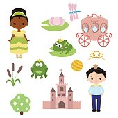 Princess theme with castle, frog prince, carriage