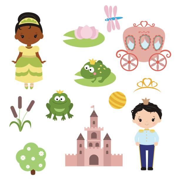 prinzessin thema mit burg, froschkönig, beförderung - prince stock-grafiken, -clipart, -cartoons und -symbole