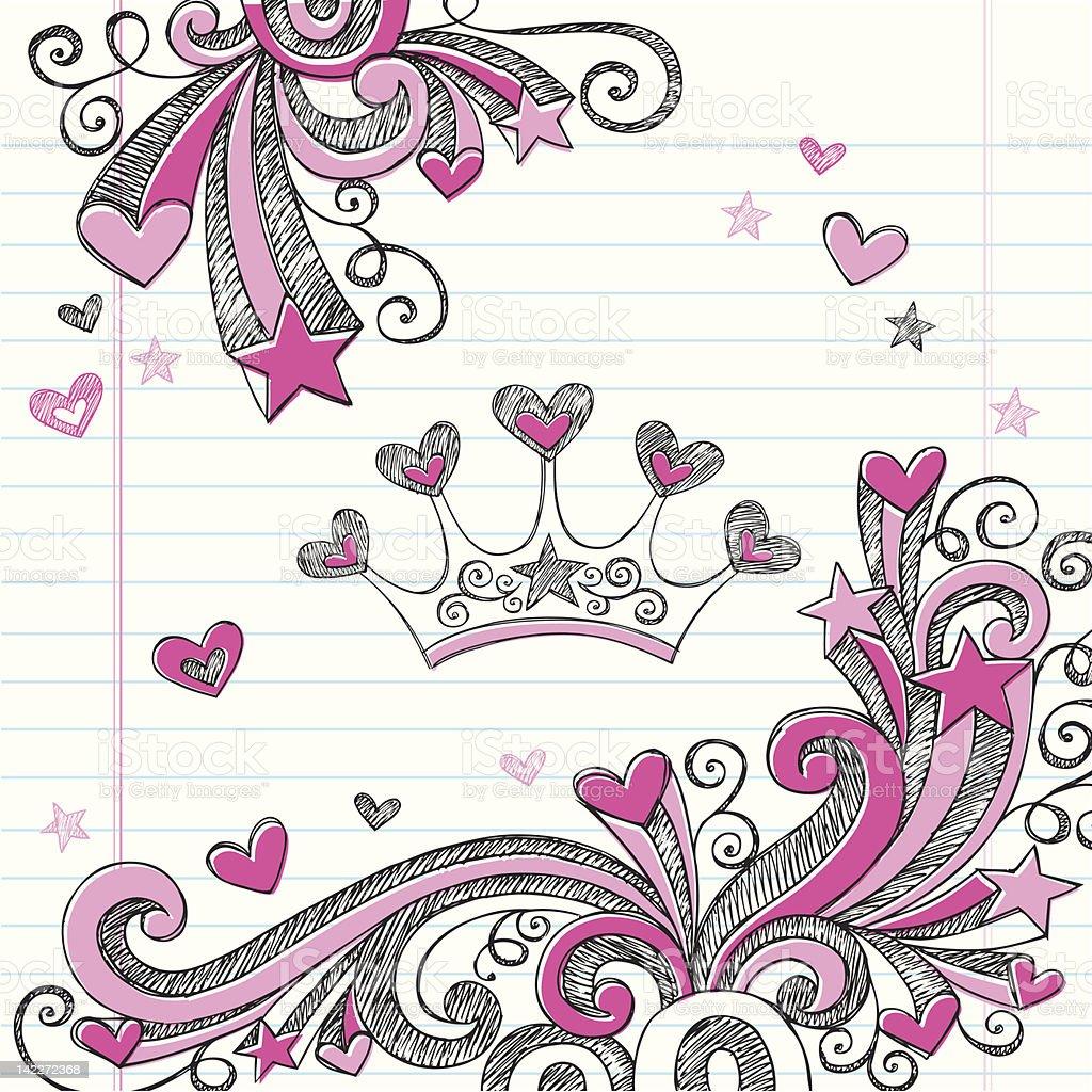 Princess Tiara Sketchy Notebook Doodles Vector Illustration vector art illustration