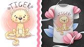 Princess tiger - idea for print t-shirt. Hand draw