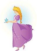beautiful princess holding a bird