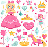 Princess with fairytale unicorn, wizard and their magic elements. Vector pictures set