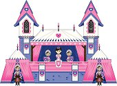 Vector illustration of adorably cute Royal Fairytale Princess with Honour Guards at Castle Marquee Tent.