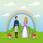 princess with prince in scene fairytale vector illustration design