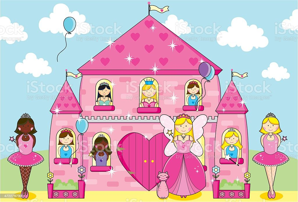 Princesses, Fairy and Ballerinas Party in Fairytale Pink Palace. vector art illustration