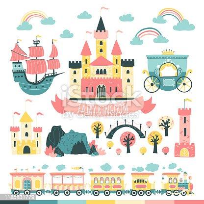 Princesses Fairytale Kingdom Set. Castles, ford, tower, train, carriage, ship, bridge etc. Vector illustration in simple scandinavian style
