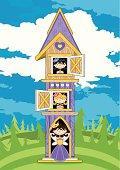 Princesses in Mini Castle Tower Scene