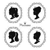 Princesses profile set. Beautiful female silhouettes. Vector