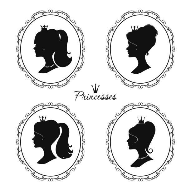 prinzessinnen-profil einstellen. schöne weibliche silhouetten. - hochzeitsanstecker stock-grafiken, -clipart, -cartoons und -symbole
