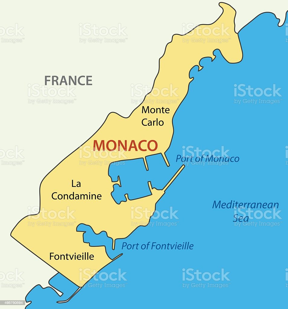 Principality Of Monaco Vector Map Stock Vector Art More Images Of