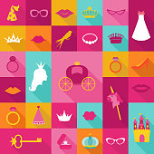 Priness Flat Icons Set - crown, lips, rings, hats